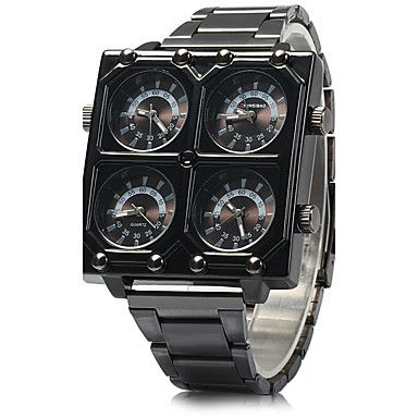 SHI WEI BAO Pánské Vojenské hodinky Křemenný Nerez Černá Hodinky s trojitým časem Cool Analogové Černá