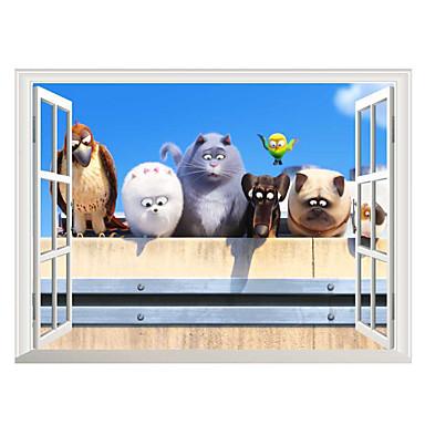 애니멀 / 크리스마스 / 3D 벽 스티커 플레인 월스티커 / 3D 월 스티커 데코레이티브 월 스티커,PVC 자료 물 세탁 가능 / 이동가능 / 재부착가능 홈 장식 벽 데칼