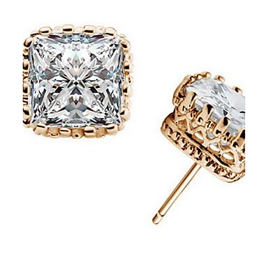 Férfi Női Crown Shape Kristály Cirkonium Kocka cirkónia Beszúrós fülbevalók - Divat Arany Ezüst Négyzet Crown Shape Geometric Shape