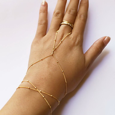 Women S Beaded Ring Bracelet Slave Simple Style Fashion Cute Golden