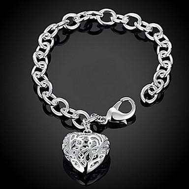 Dam Kedje & Länk Armband Berlock Armband - Sterlingsilver Hjärta, Kärlek Personlig, Mode Armband Silver Till Julklappar Bröllop Party