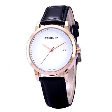 REBIRTH 여성용 패션 시계 손목 시계 캐쥬얼 시계 석영 달력 PU 밴드 캐쥬얼 미니멀리스트 블랙 레드 브라운