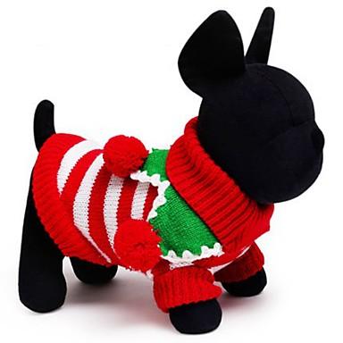 Chat Chien Pull Vêtements pour Chien Vacances Garder au chaud Noël Rayure Blanc Rouge Vert Costume Pour les animaux domestiques