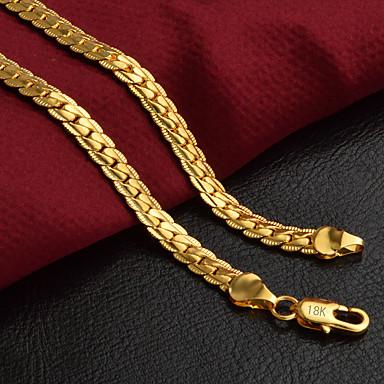 ieftine Colier la Modă-Bărbați Lănțișoare Lanț de lanțuri Foxtail lanț Baht Chain Personalizat Clasic Modă Hip-Hop 18K Placat cu Aur Aur Alb Auriu 50 cm Coliere Bijuterii 1 buc Pentru Petrecere Zilnic Casual