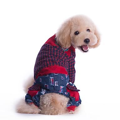 강아지 점프 수트 강아지 의류 휴일 패션 스트라이프 레드 그린