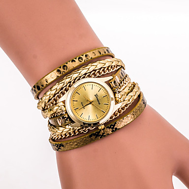 Women's Quartz Wrist Watch / Bracelet Watch Cool PU Band Vintage / Casual / Bohemian / Fashion Black / White / Blue / Silver / Red / Gold