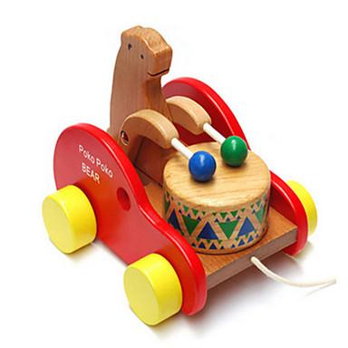 os de madeira urso tambor da criança do bebê escalada de arrastar as crianças quebra-cabeça brinquedos educativos