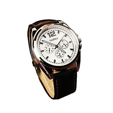 남성용 손목 시계 드레스 시계 패션 시계 석영 야광 가죽 밴드 캐쥬얼 블랙 브라운