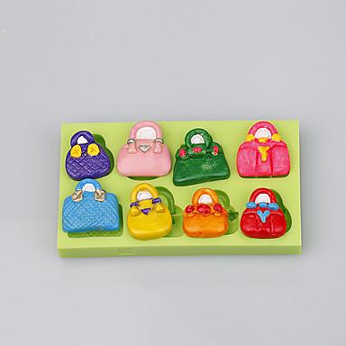 8 üreges táska alakú szilikon öntőforma fondant cake mold dekorációs eszközök fimo agyag penész ramdon szín