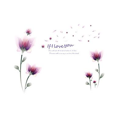 벽 데칼 데코레이티브 월 스티커 - 플레인 월스티커 로맨스 패션 꽃 재부착가능 이동가능 물 세탁 가능