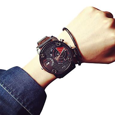 남성 손목 시계 / 석영 가죽 밴드 멋진 캐쥬얼 브라운
