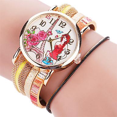 아가씨들 패션 시계 팔찌 시계 캐쥬얼 시계 / 석영 PU 밴드 멋진 캐쥬얼 블랙 화이트 블루 레드 그린 골드 핑크