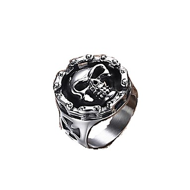 Karikagyűrűk Titanium Acél Skull shape Ékszerek Divat Punk stílus Klasszikus Ezüst - Fekete Ékszerek Napi Hétköznapi 1db