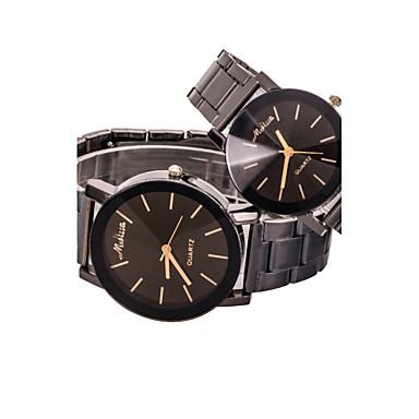 남성 아가씨들 커플용 드레스 시계 패션 시계 / 석영 합금 밴드 캐쥬얼 블랙