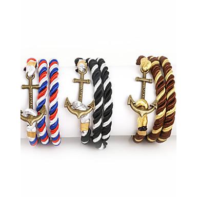 voordelige Heren Armband-Heren Wikkelarmbanden Anker Dames Modieus Nylon Armband sieraden bruin-Goud / Wit / blauw / Kristal Voor Kerstcadeaus Dagelijks Causaal Sport