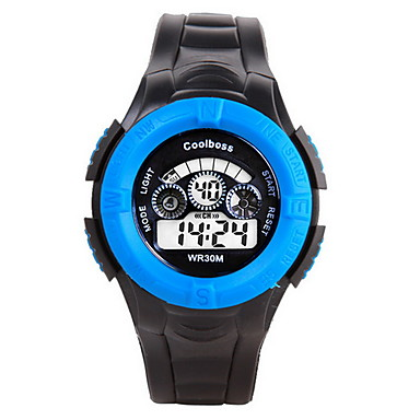 남성용 아동용 디지털 시계 패션 시계 스포츠 시계 디지털 / 실리콘 밴드 캐쥬얼 블랙