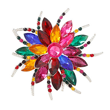 Women's Crystal Brooches - Flower Personalized, Fashion, Colorful Brooch White / White / Assorted Color / Silver / Gray For Party / Daily