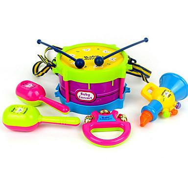 장난감 악기 드럼 세트 핸드 벨 스피커 탬버린 교육용 장난감 장난감 드럼 세트 플라스틱 ABS 5 조각 아동용 생일 어린이날 선물