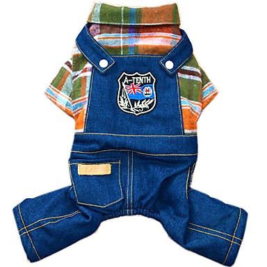 cheap Dog Clothing & Accessories-Dog Jumpsuit Denim Jacket / Jeans Jacket Dog Clothes Jeans Orange Rose Cotton Costume For Spring &  Fall Winter Men's Women's Cowboy Fashion