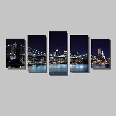 Landschap Architectuur Fotografisch Modern, Vijf panelen Horizontaal Print Muurdecoratie Huisdecoratie