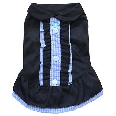 고양이 / 개 드레스 옐로우 / 블루 / 핑크 / 시안 강아지 의류 여름 격자 무늬 / 체크 패션
