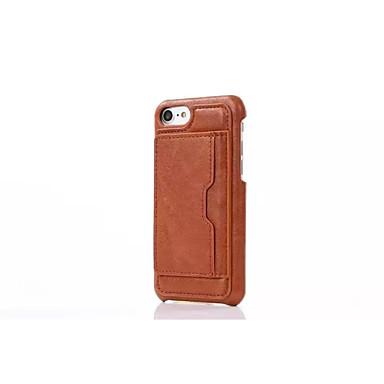 용 카드 홀더 케이스 뒷면 커버 케이스 단색 하드 천연 가죽 Apple 아이폰 7 플러스 / 아이폰 (7) / iPhone 6s Plus/6 Plus / iPhone 6s/6