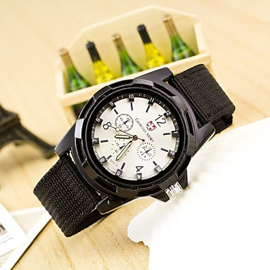 남성용 석영 손목 시계 스위스 / 디자이너 섬유 밴드 캐쥬얼 블랙 블루 그린