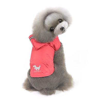 강아지 후드 레인 코트 강아지 의류 솔리드 옐로우 레드 블루 나일론 코스츔 애완 동물 남성용 여성용 방풍 방수