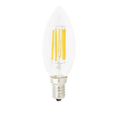 HRY 1pc 6W 560lm E14 Ampoules à Filament LED C35 6 Perles LED COB Intensité Réglable Décorative Blanc Chaud Blanc Froid 220-240V