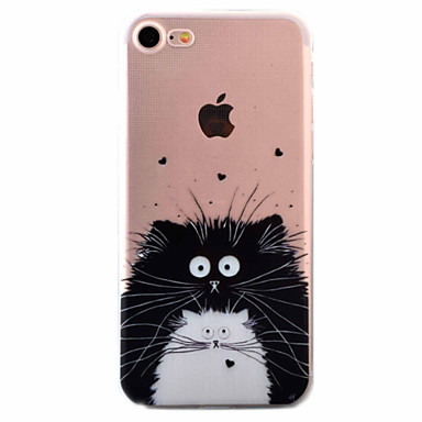 Case Kompatibilitás Apple iPhone 5 tok iPhone 6 iPhone 7 Ultra-vékeny Minta Fekete tok Cica Puha TPU mert iPhone 7 Plus iPhone 7 iPhone