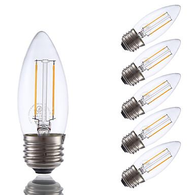 GMY® 6szt 200lm E26 / E27 Żarówka dekoracyjna LED B 2 Koraliki LED COB Przysłonięcia Ciepła biel