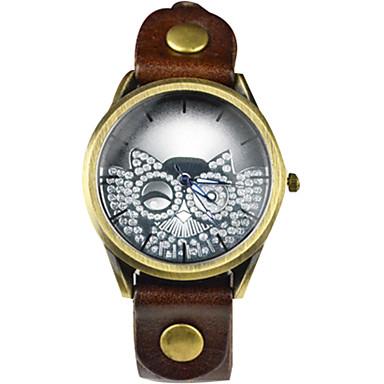 아가씨들 손목 시계 캐쥬얼 시계 / 석영 가죽 밴드 멋진 캐쥬얼 부엉이 블루 레드 오렌지 브라운 그린