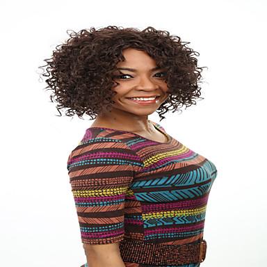 Szintetikus parókák Göndör afro Sűrűség Sapka nélküli Női Barna Természetes paróka Szintetikus haj