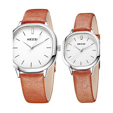 preiswerte Damen Uhren-KEZZI Paar Uhr Armbanduhr Quartz Leder Schwarz / Weiß / Braun Schlussverkauf Cool / Analog Freizeit Minimalistisch Schwarz Kaffee Braun