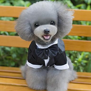 tanie Ubranka i akcesoria dla psów-Kot Psy Smoking Ubrania dla psów Kokarda Czarny Bawełna Kostium Na Husky Labrador Alaskan malamute Wiosna i jesień Zima Męskie Cosplay Ślub