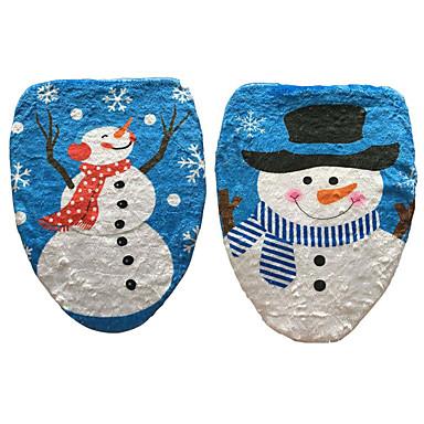 1 개 눈사람 변기 뚜껑 스탬프 변기 커버 크리스마스 장식 (스타일 랜덤)