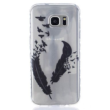 Case Kompatibilitás Samsung Galaxy S7 edge S7 Átlátszó Minta Hátlap Tollak Puha TPU mert S7 edge S7 S6 S5