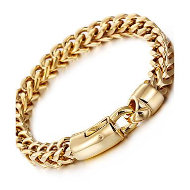 Męskie Bransoletki i łańcuszki na rękę - 18K Gold Plated, Stal nierdzewna, Pozłacane Luksusowy, Modny, Hip-Hop Bransoletki Silver / Golden Na Impreza / Prezent / Codzienny