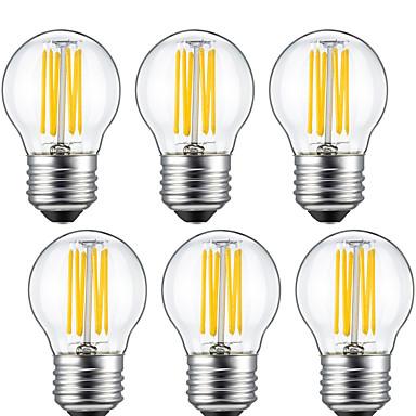 6pcs 5W 550 lm E26/E27 LED Filament Bulbs G45 6 leds COB Decorative Warm White AC 220-240 V