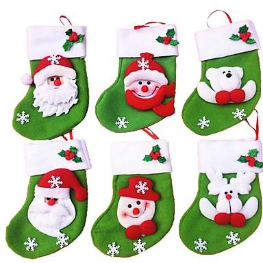 6PCS / 많은 미니 크리스마스 스타킹 / 양말 사탕 가방 크리스마스 선물 가방 스토리지 가방 크리스마스 장식 (스타일 랜덤)
