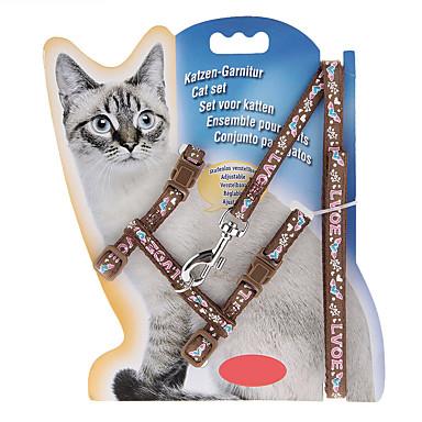 고양이 하니스 가죽끈 조절 가능 / 리트랙터블 카툰 나일론 퍼플 브라운 레드 블루 핑크