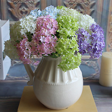 3pcs 5clor 아름다운 수국 인공 꽃 가정 훈장