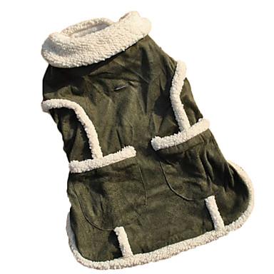 Chat Chien Manteaux Gilet Vêtements pour Chien Garder au chaud Mode Couleur Pleine Vert Costume Pour les animaux domestiques