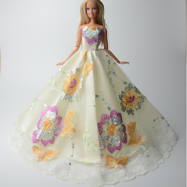 bfa5a3b1cb3c2 حفلة   سهرة فساتين إلى Barbiedoll دانتيل   الأورجانزا فستان إلى لفتاة دمية  لعبة