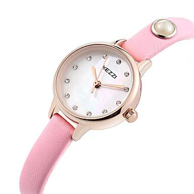 KEZZI 여성용 패션 시계 손목 시계 캐쥬얼 시계 석영 / 천연 가죽 밴드 캐쥬얼 멋진 블랙 화이트 블루 핑크 로즈