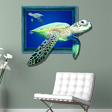 3d falimatrica tengeri halak lyuk PVC anyag dekoratív bőr falimatrica
