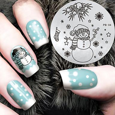 2016 최신 버전 패션 크리스마스 눈사람 패턴 네일 아트 스탬프 이미지 템플릿 판
