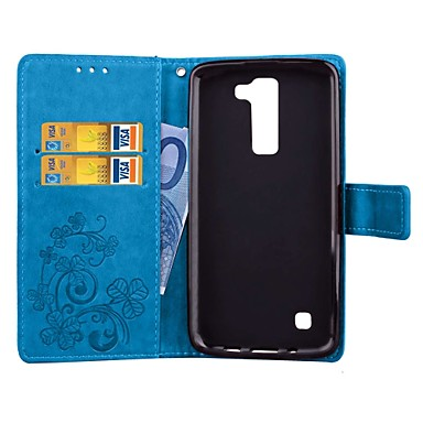 dla lg g5 k5 k7 posiadacz karty / portfel / z podstawką / auto sleep / wake / magnetic / tłoczone pełne body case solid color hard pu leather other