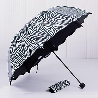 Μαύρο / Λευκή Αναδιπλούμενη Ομπρέλα Ομπρέλα Ήλιου Plastic Περπατούρα