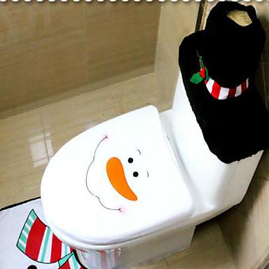 Ozdoby choinkowe toaletowy zestaw christmas oryginalności trzyczęściowy WC bałwana z